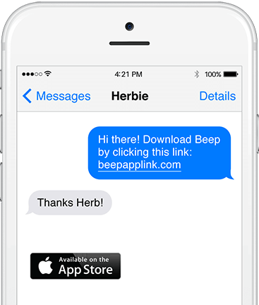 Cellular device showing download the Beep app message